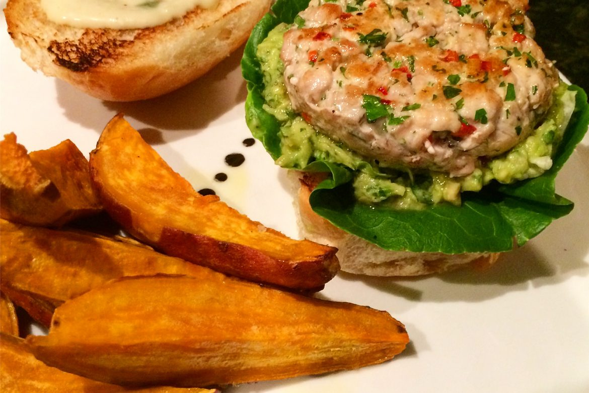 Tuna Burger & Sweet Potato Wedges